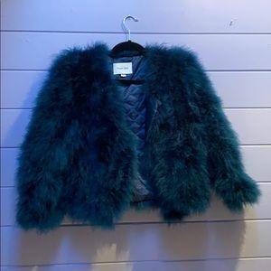 Dark blue cropped fur jacket, L